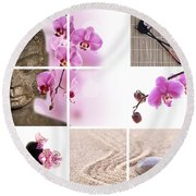 Pink Orchid And Buddha Collage Round Beach Towel