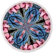 Pink Orchid Kaleidoscope 2 Round Beach Towel