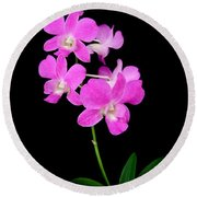 Pink Orchids 9 Round Beach Towel