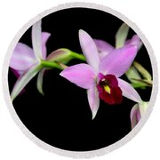 Pink Orchids Cascading Round Beach Towel