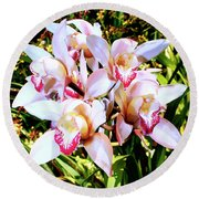 Pink Spirit Orchids Palm Springs Round Beach Towel