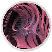 Pink Panels Round Beach Towel