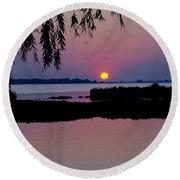 Pink Paradise Pond Round Beach Towel