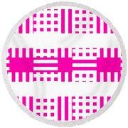 Pink Patterns Round Beach Towel