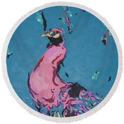 Pink Peacock Full View Round Beach Towel