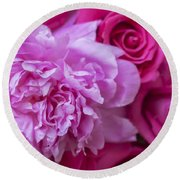 Pink Peonies And Pink Roses Round Beach Towel