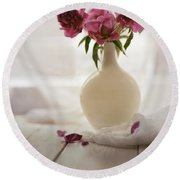Pink Peonies In A Pot On The Wooden Table Round Beach Towel