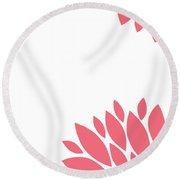 Pink Peony Flowers Round Beach Towel