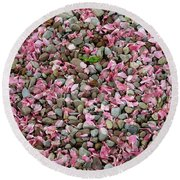 Pink Petals On Stones  Round Beach Towel
