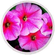 Pink Petunias Round Beach Towel