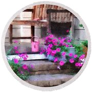 Pink Petunias And Watering Cans Round Beach Towel