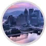 Pink Pittsburgh Morning Round Beach Towel