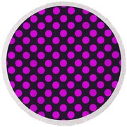 Pink Polka Dots On Black Fabric Background Round Beach Towel