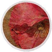 Pink Poppy Gold Leaf Round Beach Towel