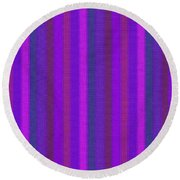 Pink Purple And Blue Striped Textile Background Round Beach Towel