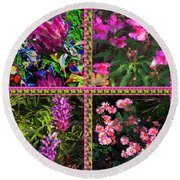 Pink Purple Flowers Captured At The Riverside Ridge At Oakville Ontario Canada Collage Beautiful     Round Beach Towel
