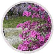 Pink Purple Mississippi Blooms Round Beach Towel
