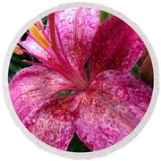 Pink Rain Speckled Lily Round Beach Towel