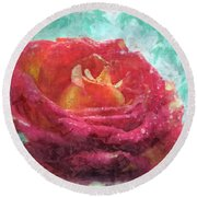 Pink Rose - Digital Paint II Round Beach Towel