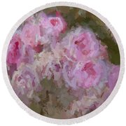 Pink Rose Abstract Round Beach Towel