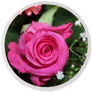Pink Rose Adds Colour Round Beach Towel