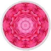 Pink Rose Bouquet Kaleidoscope Round Beach Towel