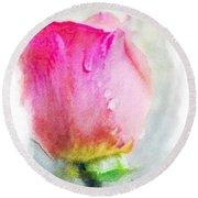 Pink Rose Bud - Digital Paint II Round Beach Towel