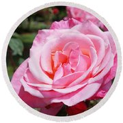 Pink Rose Flower Floral Art Prints Roses Round Beach Towel