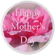 Pink Rose Mother's Day Card Round Beach Towel