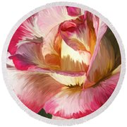 Pink Rose Painted  Round Beach Towel