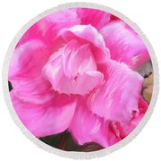 Pink Rose Painting  Round Beach Towel