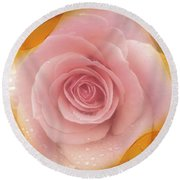 Pink Rose Romance  Round Beach Towel