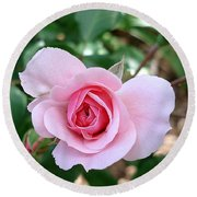 Pink Rose - Square Print Round Beach Towel