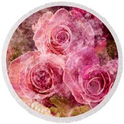 Pink Roses And Pearls Round Beach Towel
