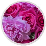 Pink Roses And Peonies Please Round Beach Towel