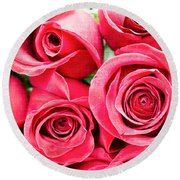 Pink Roses Flowers  Round Beach Towel