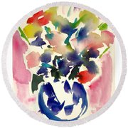 Pink Roses In A Blue Vase Round Beach Towel
