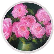 Pink Roses In A Brass Vase Round Beach Towel