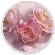 Pink Roses In The Mist Round Beach Towel