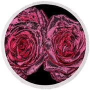 Pink Roses With Dark And Rough Chrome  Effects Round Beach Towel