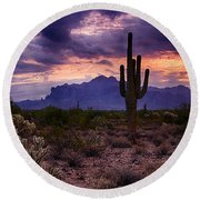 Pink Skies At The Superstitions Round Beach Towel