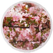 Pink Spring Apple Blossoms Round Beach Towel