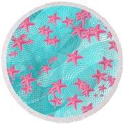 Pink Starfish Round Beach Towel