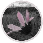 Pink Sunflower Round Beach Towel