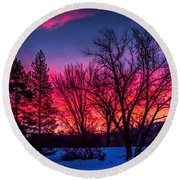 Pink Sunrise Round Beach Towel
