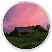 Pink Sunrise. Old Barn Round Beach Towel