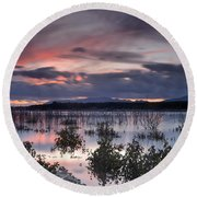 Pink Sunset At The Lake Round Beach Towel