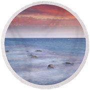 Pink Sunset At The Mediterranean Round Beach Towel