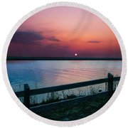 Pink Sunset Round Beach Towel