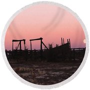 Pink Sunset Over Corral Round Beach Towel